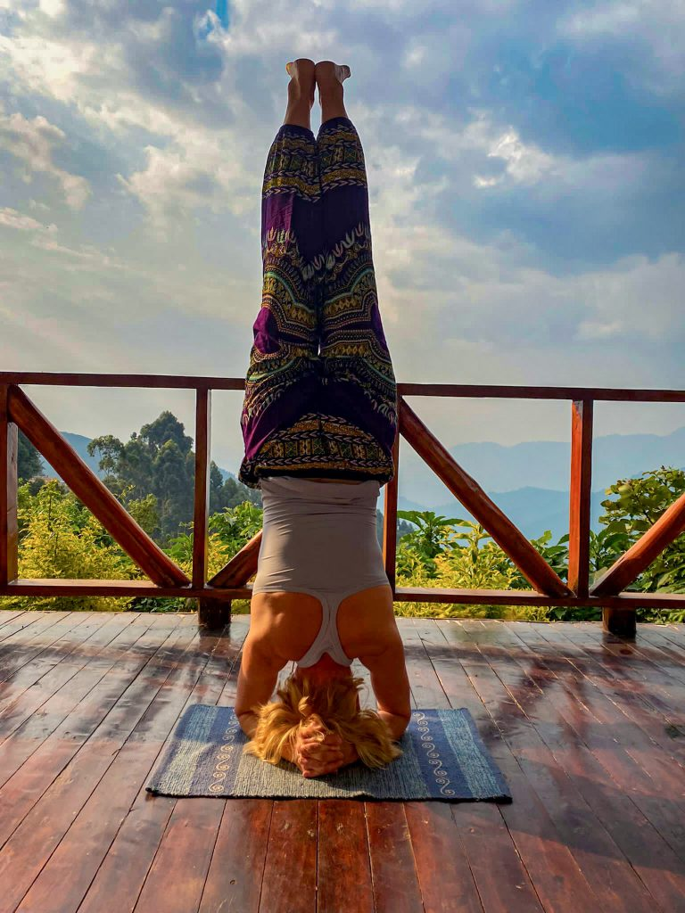 Yoga Pause in the rainforest jungle of Bwindi